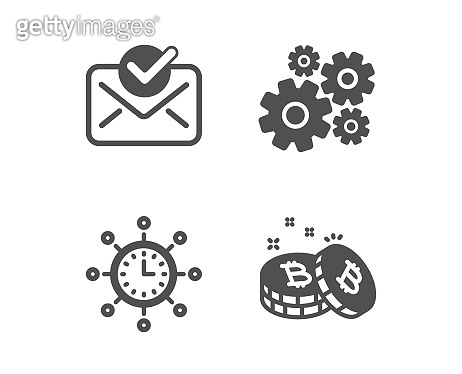 Cogwheel, World time and Approved mail icons. Bitcoin sign. Vector