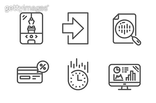 Cashback, Crane claw machine and Login icons set. Analytics chart, Fast delivery and Analytics graph signs. Vector