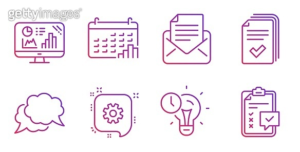 Chat message, Cogwheel and Mail correspondence icons set. Time management, Handout and Calendar graph signs. Vector