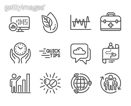 Set of Science icons, such as Teamwork, Graph chart, Medical drugs. Vector