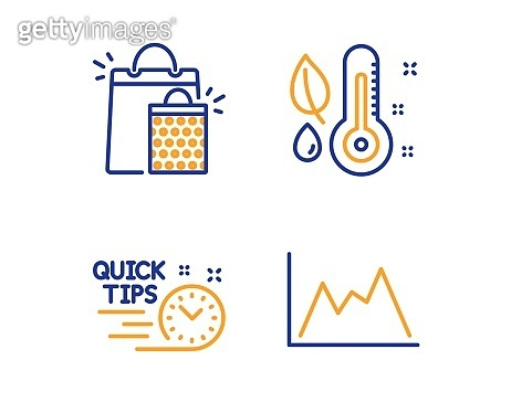Shopping bags, Thermometer and Quick tips icons set. Diagram sign. Sale marketing, Grow plant, Helpful tricks. Vector