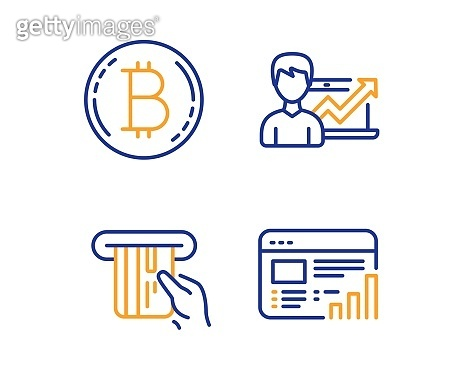 Bitcoin, Credit card and Success business icons set. Web report sign. Vector
