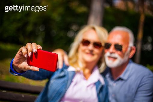 Senior couple enjoy in park