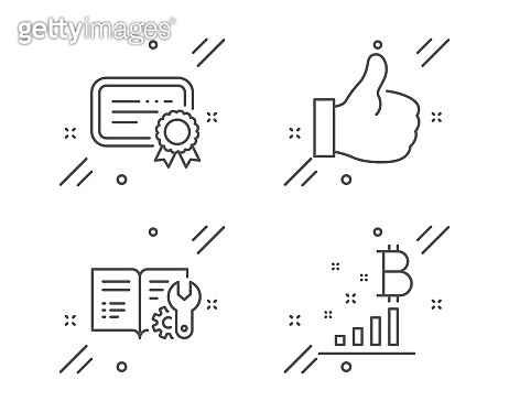 Certificate, Engineering documentation and Like icons set. Bitcoin graph sign. Vector