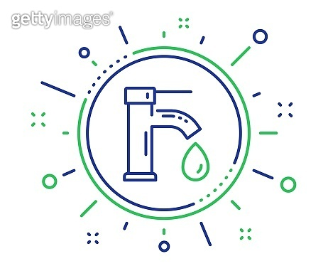 Tap water line icon. Faucet with aqua drop sign. Vector