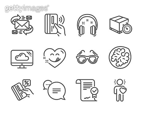 Set of Business icons, such as Credit card, Yummy smile, Approved agreement. Vector