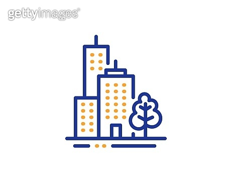 Skyscraper buildings line icon. City architecture with tree sign. Town. Vector