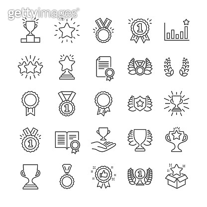Award line icons. Winner medal, Victory cup. Vector