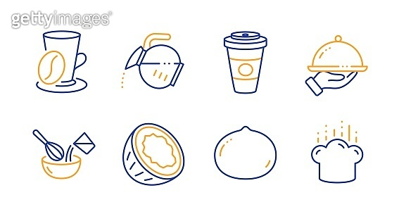 Macadamia nut, Coconut and Coffee pot icons set. Cooking whisk, Takeaway coffee and Restaurant food signs. Vector