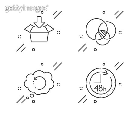 Recovery data, Get box and Euler diagram icons set. 48 hours sign. Vector