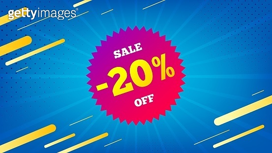 Sale 20 percent off badge. Discount banner shape. Vector