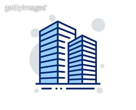 Skyscraper buildings line icon. City architecture sign. Town. Vector