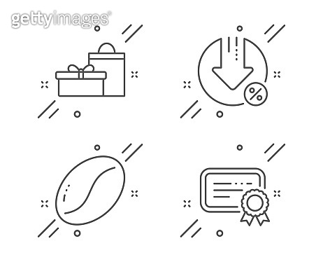 Loan percent, Gifts and Coffee beans icons set. Certificate sign. Vector