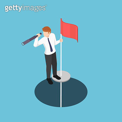 Isometric businessman standing on pole with telescope come up from the hole