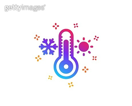 Thermometer icon. Cold and warm thermostat sign. Vector