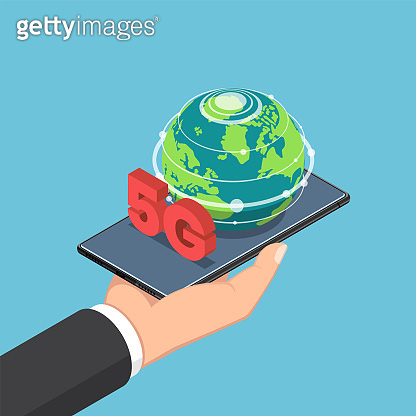 Isometric businessman hand holding smartphone with world and 5G sign