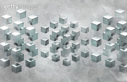 Abstract background with cubes array against grungy background