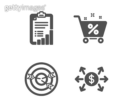 Targeting, Loan percent and Checklist icons. Dollar exchange sign. Vector