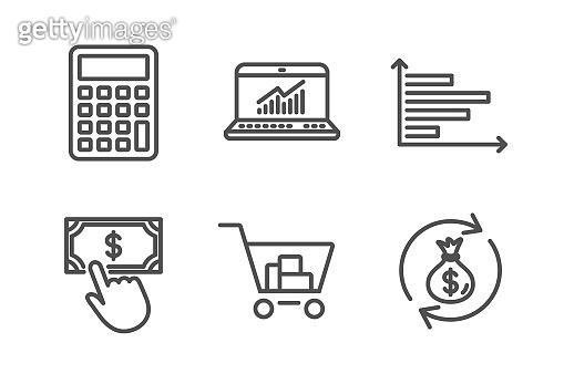 Internet shopping, Calculator and Horizontal chart icons set. Vector