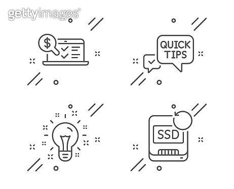 Online accounting, Quick tips and Idea icons set. Recovery ssd sign. Web audit, Helpful tricks, Creativity. Vector