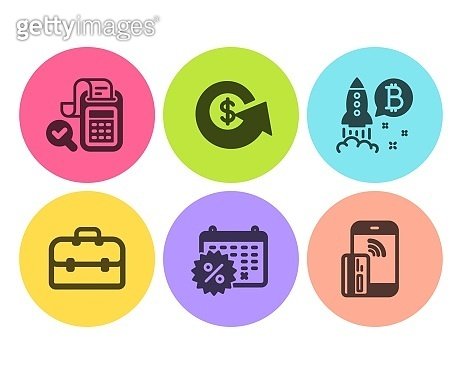 Bitcoin project, Bill accounting and Portfolio icons set. Vector