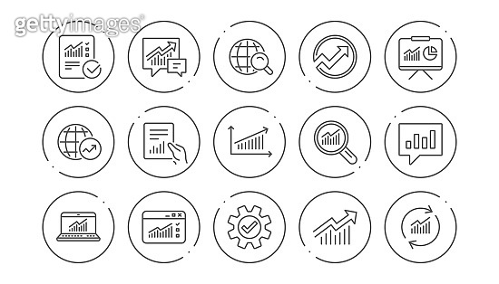 Analytics line icons. Reports, Charts and Graphs. Linear icon set. Vector