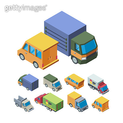 Delivery transport isometric 3D vector illustrations set
