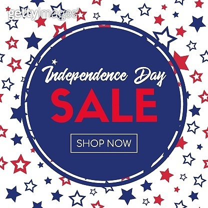 Independence day sale. Shop now. Vector banner template for social media