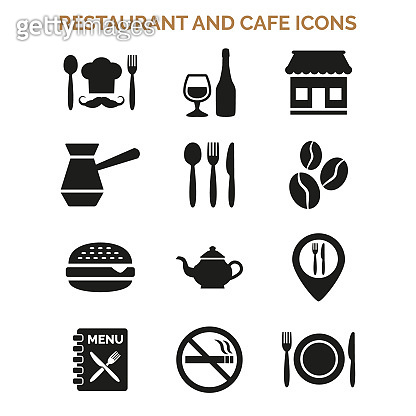 Restaurant and cafe icons set on white background.