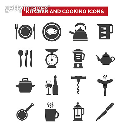 Kitchen and cooking icons set on white background.