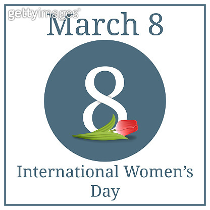 International Women's Day, March 8. Red Tulip and Number 8. March Holiday Calendar. Greeting Card, Banner, Poster, Invitation. Vector illustration for your design.