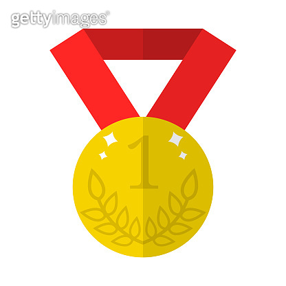 Vector golden medal icon isolated on white background. Flat gold award of winner. First place, number one. Clean and modern vector illustration for design, web.