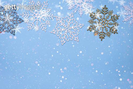 christmas decor background - snowflakes on blue background