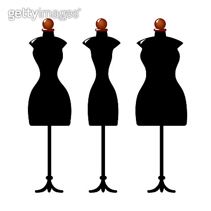 Three old cracked female body shape mannequins. Torso dummy for woman tailor mannequins. Three types of female figure. Vector image. Isolated on white background