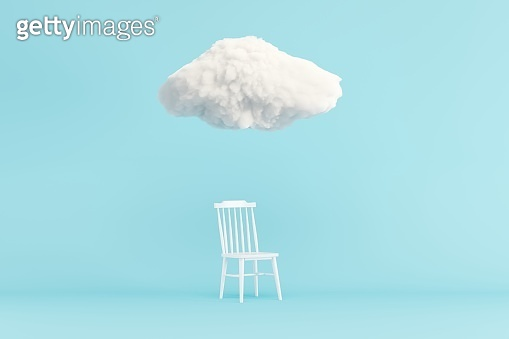 Cloud Floating above white chair on blue background. Minimal idea concept. 3D render.