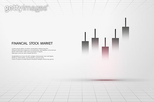 Stock market graph or forex trading chart for business and financial concepts, reports and investment on grey background. Vector illustration