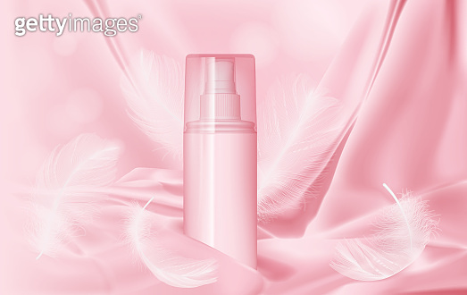 bottle with perfume on a background of pink silk and feather mock up vector