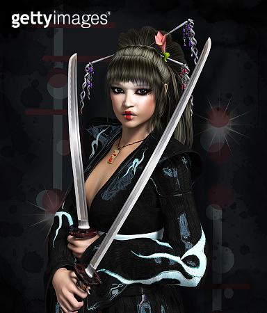 Lady samurai with shining swords