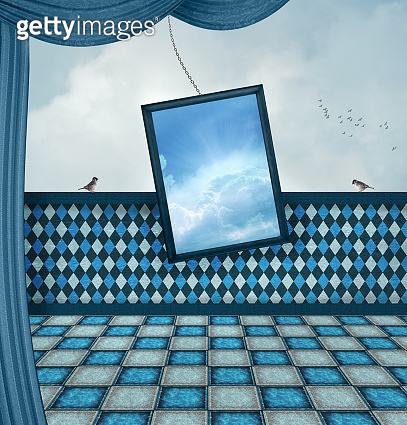 Surreal stage with a mirror