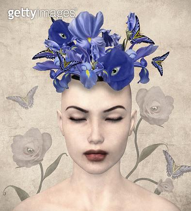 Fantasy lady portrait with purple flowers