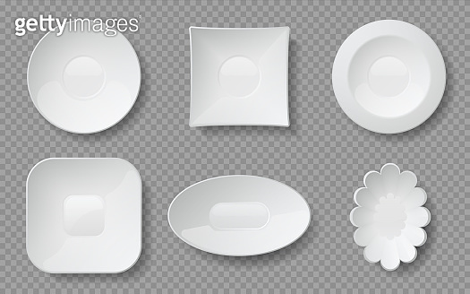 Realistic food plates. White empty dishes and bowls for cafe and restaurants, ceramic glass or porcelain dishware. Vector mockup set