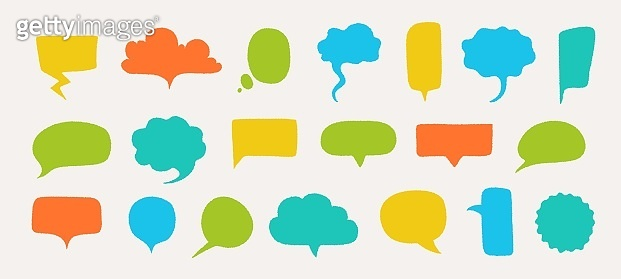 Hand drawn speech bubbles. Doodle text shapes elements with rough edges and noisy grunge texture. Vector isolated set