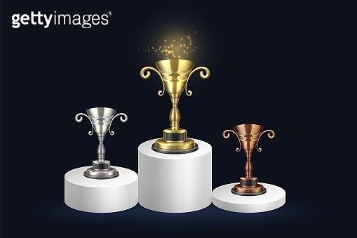 Golden, silver and bronze championship rewards. White 3D Cylinder solid pedestal podium. Winner Cup and Victory Concept - Vector Blank Icon Closeup Isolated