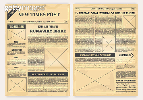 Vintage newspaper. Old realistic pages with headers and place for pictures, retro article layout. Vector background with newsprint