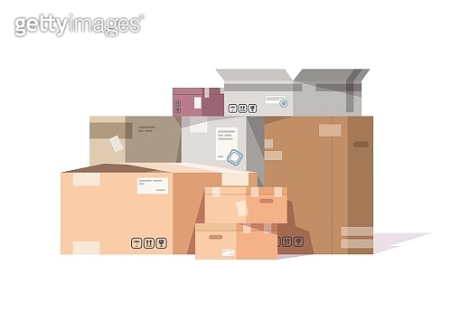 Cardboard boxes stack. Carton parcels and delivery packages pile, flat warehouse goods and cargo transportation. Vector isolated boxes