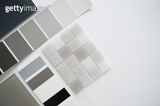 Layout of samples of materials, selection of materials, selection