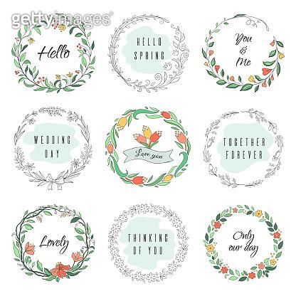 Floral circle doodle frames. Circular laurel wreath, flourish monogram borders, hand drawn botanical shapes. Vector florist frames
