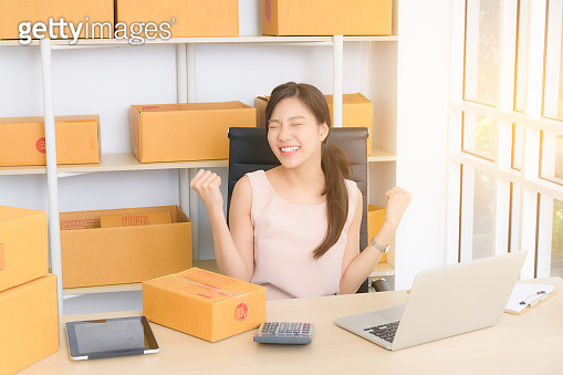 Young business woman working online with laptop.