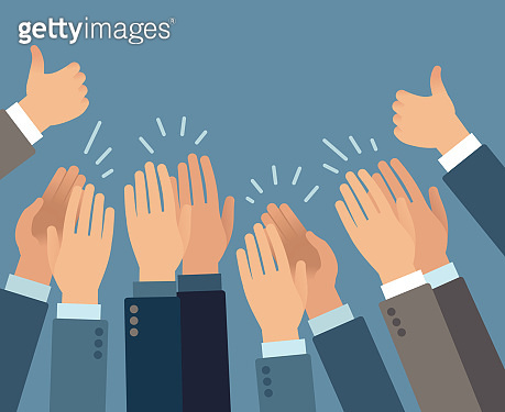Applause. Hands clapping applause gestures, congratulation audience appreciation success greeting approve flat vector concept