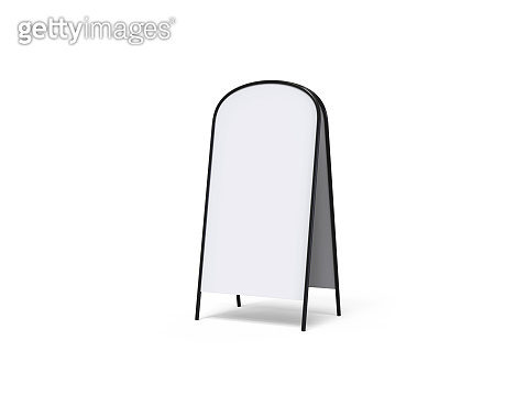 Blank full handle metallic outdoor advertising stand isolated, Clear street signage board mock up. Round Corner A-board with metal frame template. 3d illustration